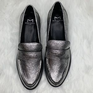 Marc Fisher Womens Vero Leather Loafers - Pewter